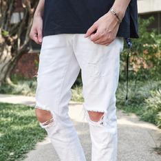 KOREA 的 白色牛仔破褲