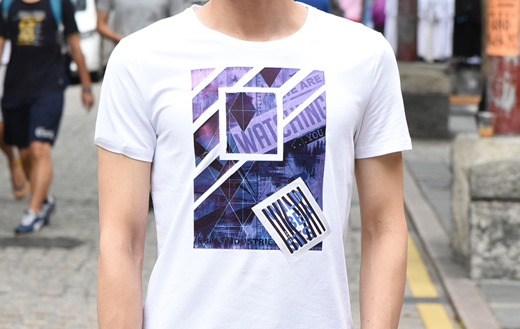 TM時間男人 的 超彈力幾何拼接印花T恤