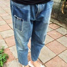 URBAN RESEARCH 的 拼接加工九分牛仔褲