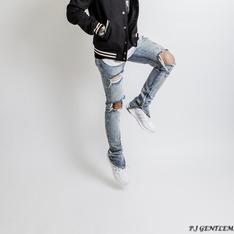 P.J-WHITE 的 刷破牛仔褲