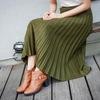 HUAHUA 的 羊絨百摺素面長裙-軍綠