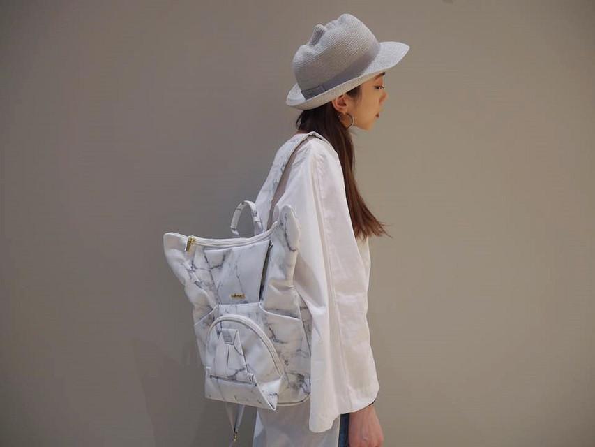 無品牌 的 ORIBAGU 的 白大理石鬥牛犬摺紙包