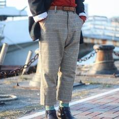 DOUCHANGLEE 的 高腰格紋褲