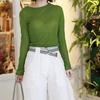 無品牌 的 草木綠微透上衣