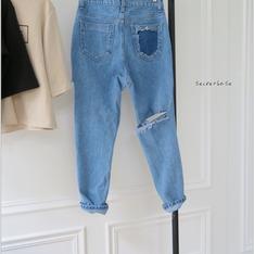 無品牌 的 單寧破褲