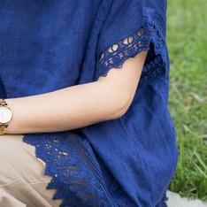 LAKUFUKU 的 縷空雕花棉麻衫