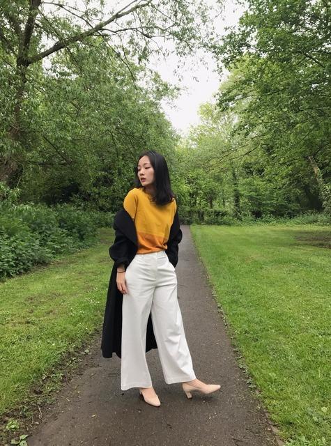 COS/MANOLO BLAHNIK 的 白色阔腿裤/ 粗跟鞋