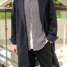 GU 的 深藍格紋棉質襯衫