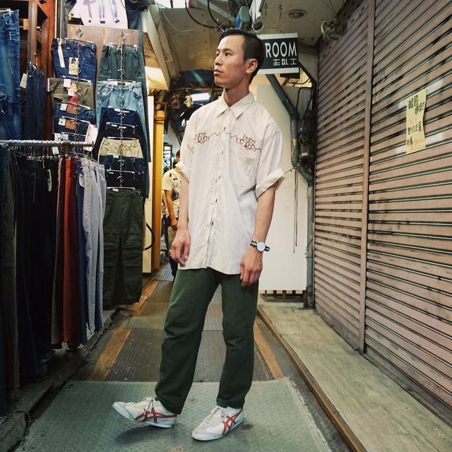 自己做 的 軍綠棉麻休閒長褲