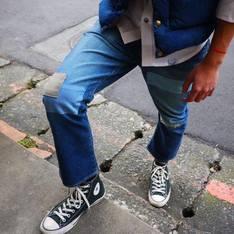 JAPAN BLUE JEANS 的 直筒小喇叭牛仔褲