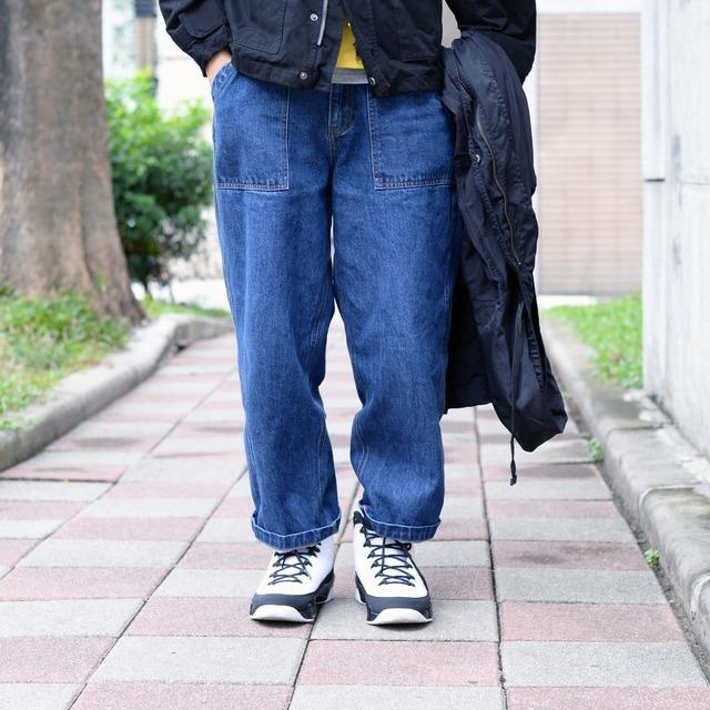 PLAIN-ME 的 水洗丹寧寬褲