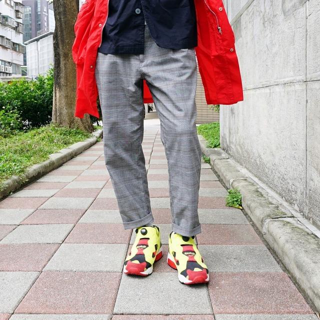 PLAIN-ME 的 彈性格紋長褲